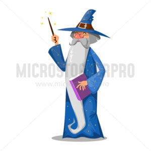 Wizard with book and magic wand cartoon style - Vector illustrations for everyone | Microstocker.Pro