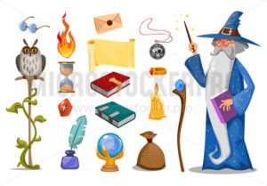 Wizard with magic attributes on white background - Vector illustrations for everyone | Microstocker.Pro