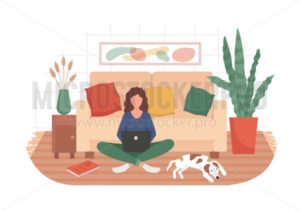 Woman and remote working in cozy living room - Vector illustrations for everyone | Microstocker.Pro