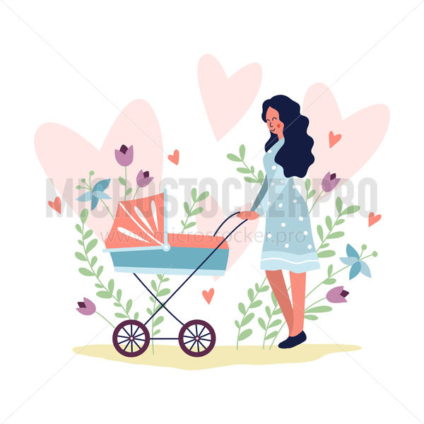 Young woman walking with baby in baby carriage in park - Vector illustrations for everyone | Microstocker.Pro
