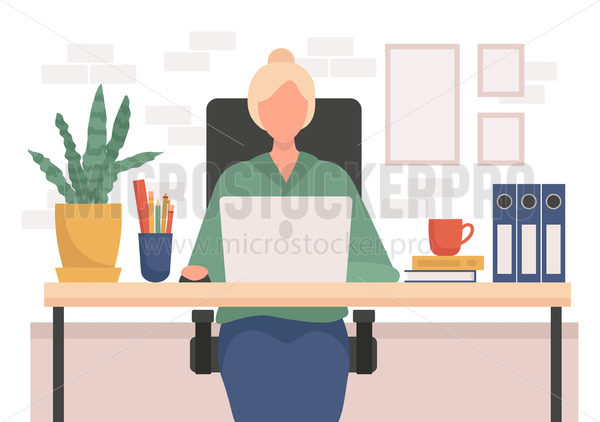 Young woman working from home on laptop - Vector illustrations for everyone | Microstocker.Pro